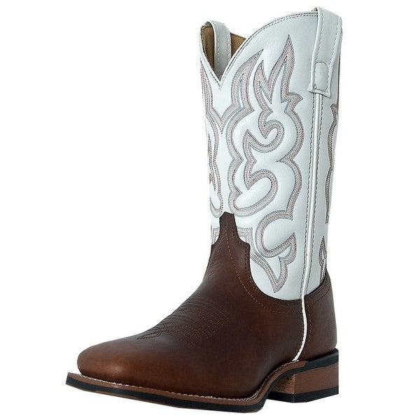 Laredo Western Boots Mens Lodi Stockman Square Toe Redwood White