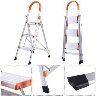 Costway New Non-slip 3 Step Aluminum Ladder Folding Platform Stool 330 lbs Load Capacity