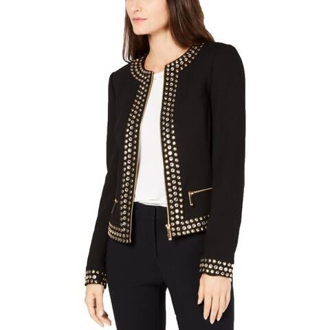 MICHAEL Michael Kors Womens Collarless Blazer Studded Zip-Front - 14