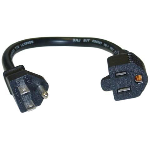 Offex Power Extension Cord, Black, NEMA 5-15P to NEMA 5-15R, 13 Amp, 16 AWG, 10 Amp, 1 foot - Black