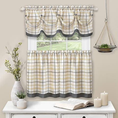 Tattersall Window Kitchen Curtain Tier and Valance Set, Tier 58x36 Inches, Valance 58x14 Inches