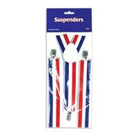 Club Pack of 12 Red, White and Blue Patriotic Adjustable Suspender Costume Accessories - Multi