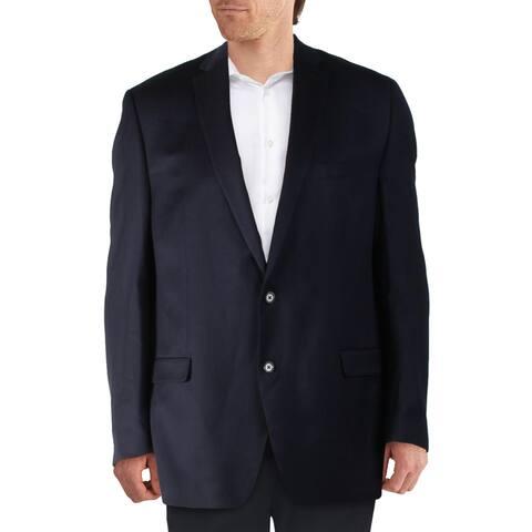Lauren Ralph Lauren Mens Big & Tall Two-Button Blazer Wool Solid - Navy