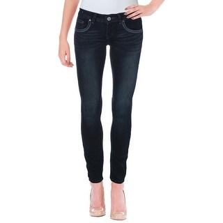 Indigo Rein Womens Juniors Skinny Jeans Embroidered Flap Pocket - 0