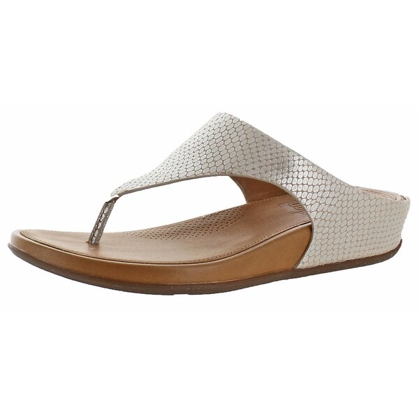 FitFlop Banda Women's Leather Snake Thong Sandals