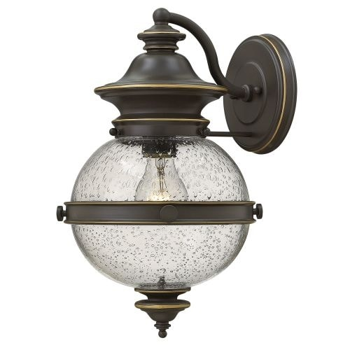 Hinkley Lighting 2344 1 Light Lantern Wall Sconce with Clear Seedy Glass Shade from the Saybrook Collection