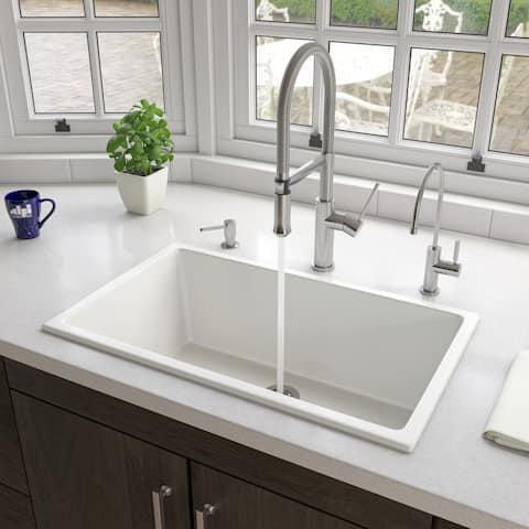 """ALFI brand AB3018UD-W 30"""" White Undermount / Drop In Fireclay Kitchen Sink"""