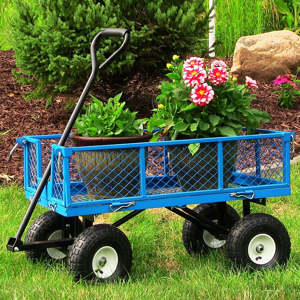 Sunnydaze Utility Cart with Removable Folding Sides, 400 Pound Weight Capacity - Multiple Colors - Thumbnail 0