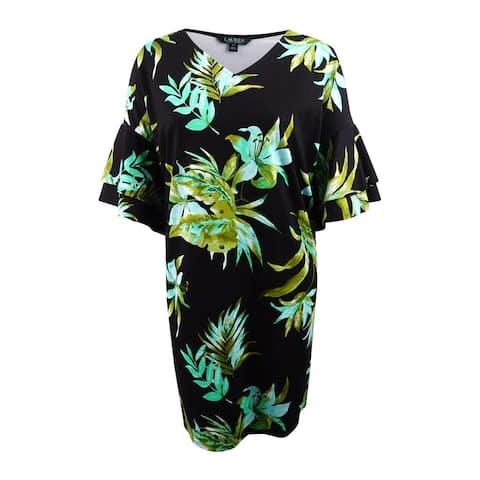 Lauren by Ralph Lauren Women's Plus Floral Print Ponte Shift Dress (3X, Black) - Black - 3X
