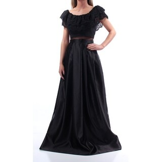 BETSY & ADAM $299 Womens New 1648 Black Lace Sleeveless Pleated Dress 2 B+B