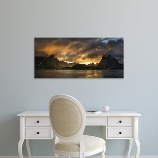 Easy Art Prints Panoramic Image 'Clouds, Mountains, Reine, Moskenesoya, Lofoten, Nordland County, Norway' Canvas Art