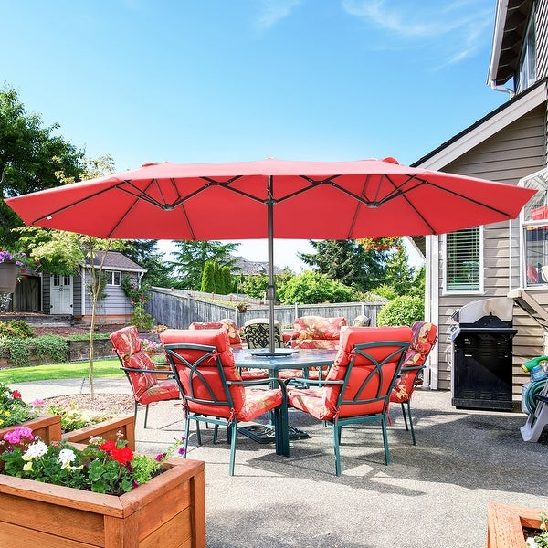 15 FT Double Sided Patio Umbrella with Base. Opens flyout.