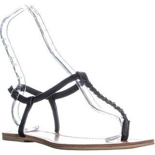 AR35 Kelli Braided T-Strap Thong Sandals, Black
