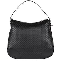 "Gucci 449244 Large BREE Micro GG Guccissima Black Leather Purse Hobo Handbag - 15"" x 13"" x 4.5"""