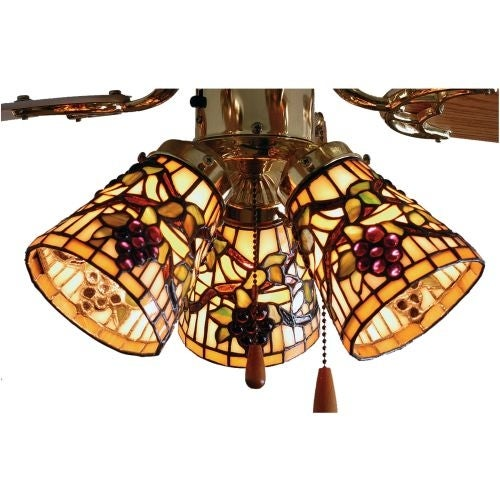 "Meyda Tiffany 67013 4"" W Jeweled Grape Fan Light Shade"