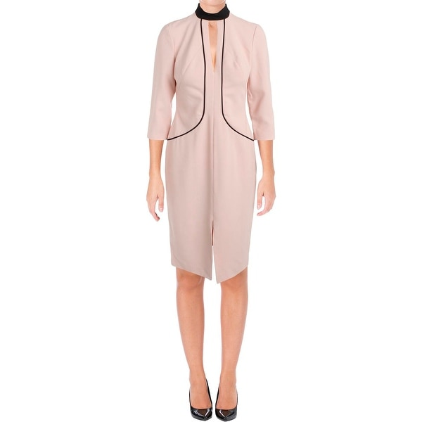 59e55053 Shop Black Halo Womens Wear to Work Dress Contrast Trim Keyhole ...