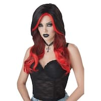 Womens Fatal Beauty Vampire Black & Red Wig