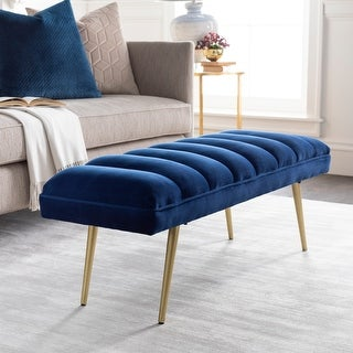 """Link to Rooney Pleated Velvet Glam Upholstered Bench - 18""""H x 48""""W x 16""""D Similar Items in Living Room Furniture"""