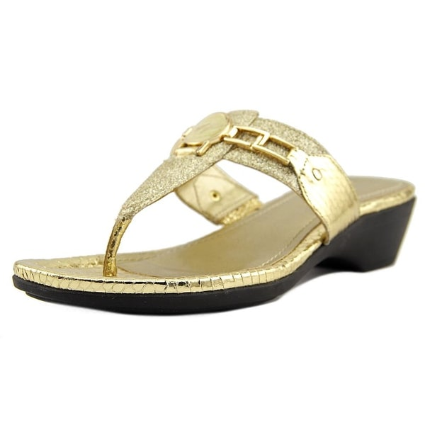 Marc Fisher Amina 2 Women Open Toe Synthetic Gold Thong Sandal