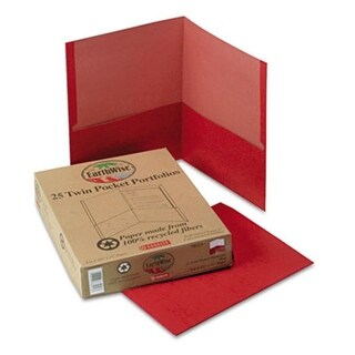 Earthwise 100 Percent Recycled Paper Twin-Pocket Portfolio Red