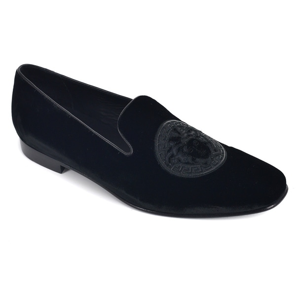 73a4ae7abd7bd Shop Versace Black Medusa Embroidered Velvet Loafers - Free Shipping ...