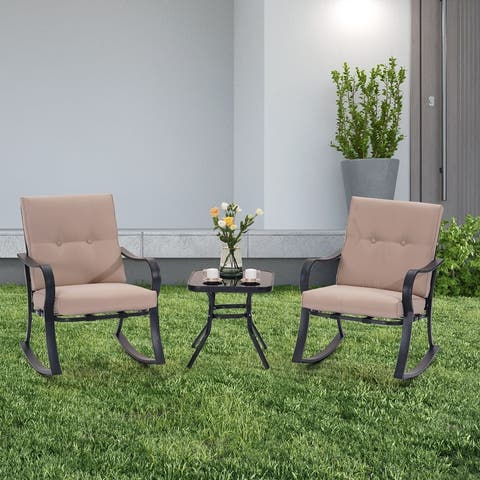 ACEGOSES 3 Pieces Outdoor Rocking Bistro Set Rocking chair