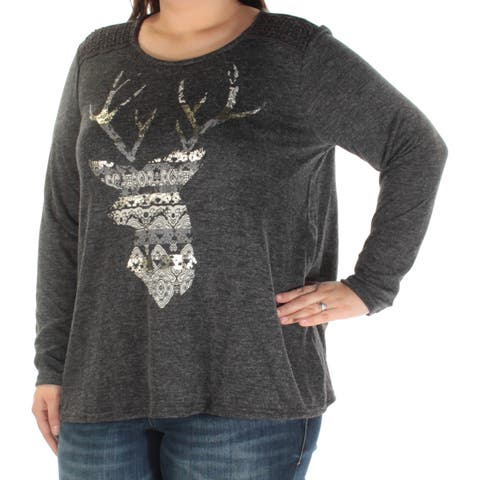 STYLE & CO Womens Gray Deer Long Sleeve Scoop Neck Top Plus Size: 0X