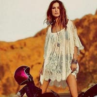 Women Beach Dress Sexy Strap Sheer Floral Lace Embroidered Crochet