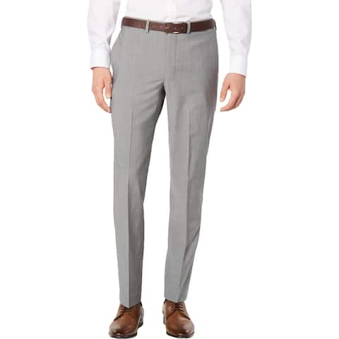 DKNY Mens Dress Pants Wool Suit Separate - Light Grey