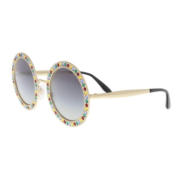 f6b8933a0be Shop Dolce   Gabbana DG2170B 02 8G Gold Round Sunglasses - 51-26-140 ...