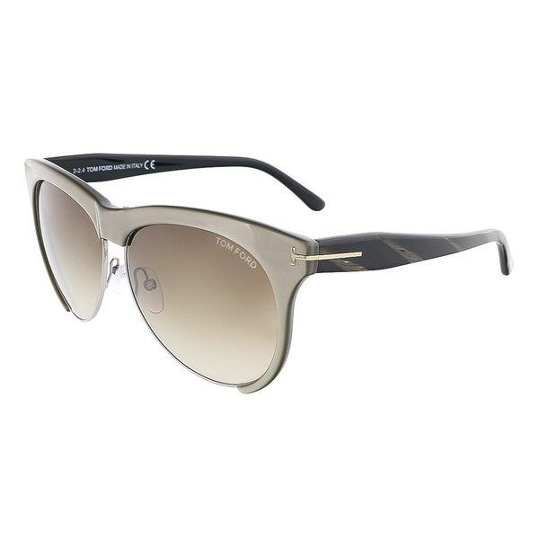Tom Ford FT0365/S 38B LEONA Grey Bronze Clubmaster sunglasses - 59-12-140