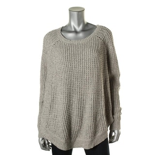 LRL Lauren Jeans Co. Womens Ribbed Trim Dolman Sleeves Poncho Sweater - L