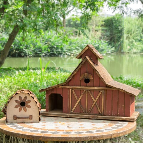 "Glitzhome 21""L Extra-Large Farmhouse Rustic Wood Barn Birdhouse"