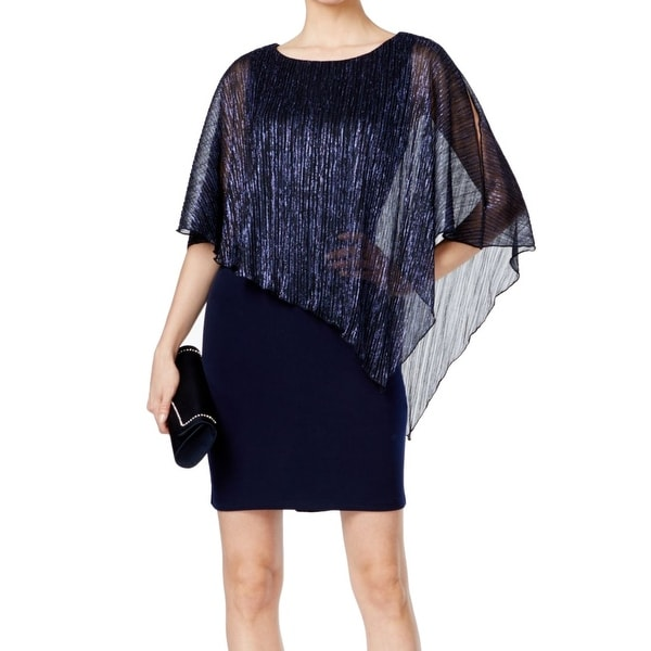 23809f25 Shop Connected Apparel Blue Womens Size 10 Shimmer Cape Sheath Dress - On  Sale - Free Shipping On Orders Over $45 - Overstock - 27019119