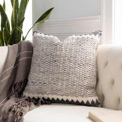 The Curated Nomad Taber Heathered Wool 18-inch Throw Pillow Cover