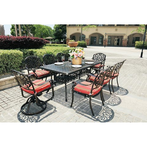 Moda Outdoor 9-Piece All-Weather Alum Garden Dining Set Swivel Chairs