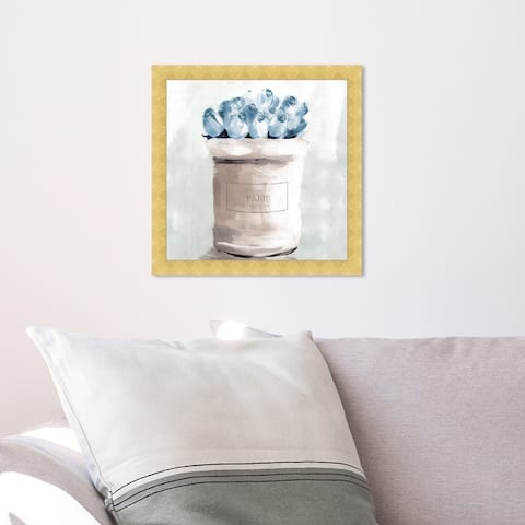 Oliver Gal 'Blue Flowers From Paris Square' Floral and Botanical Wall Art Framed Print Florals - Blue, White