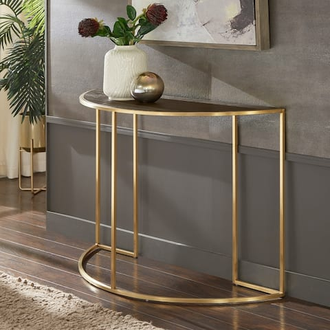 Subira Antique Gold Finish Metal and Reclaimed Wood Half Round Sofa Table by iNSPIRE Q Bold