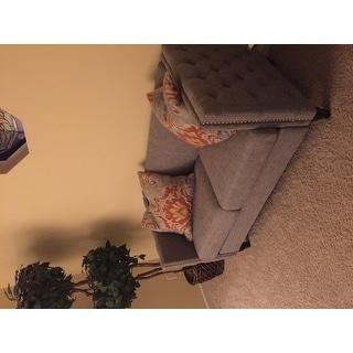 Furniture of America Clara Tuxedo Linen Tufted Nailhead Loveseat