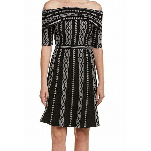 3c88b9899716 Shop Eliza J Black Womens Size Large L Off Shoulder Flare Sweater Dress -  Free Shipping Today - Overstock - 22514599