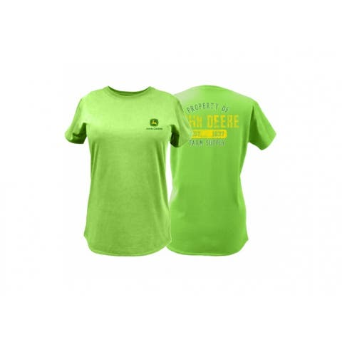John Deere 23000001AG07 Ladies T-Shirt w/John Deere Trademark, Apple Green, XXL