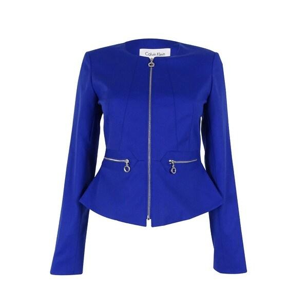 Calvin Klein Women's Petite Front-Zip Blazer