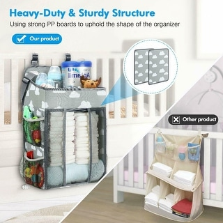 Link to Baby Diaper Bags, Hanging Nursery Organizer Baby Shower Gifts for Infant Newborn Store Diaper, Grey & White Oxford Large - M Similar Items in Child Safety
