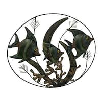 Colorful Tropical Fish in Coral Decorative Metal Wall Sculpture - Green