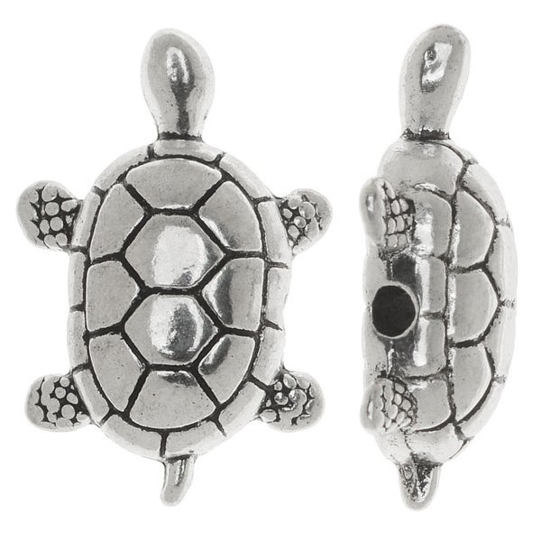 Lead-Free Pewter, Turtle Beads 20mm, 2 Pieces, Antiqued Silver