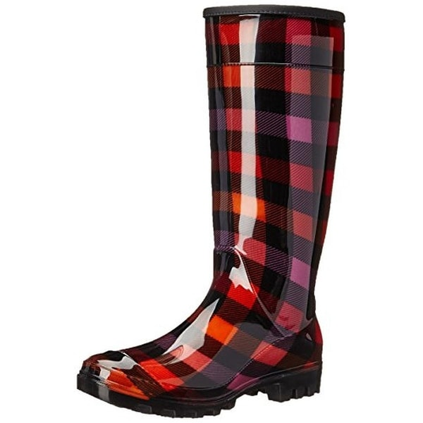 Dirty Laundry Womens Ring Leader Rain Boots Plaid Knee-High