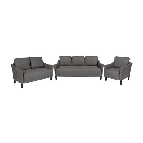 Offex 3 Piece Upholstered Chair, Loveseat and Sofa Set with Slanted Arms in Dark Gray Fabric