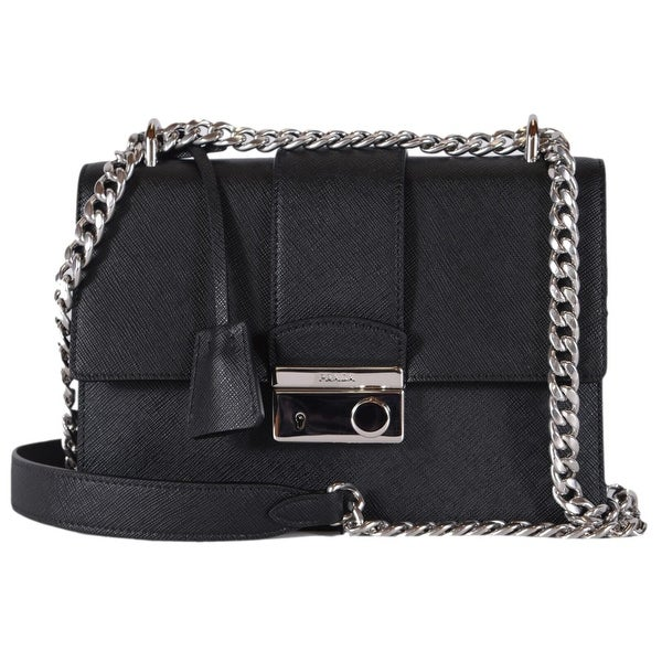 260baade6589 Prada 1BD034 Pattina Black Saffiano Leather Lux Small Crossbody Purse Bag