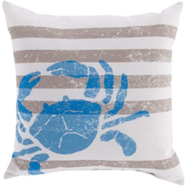 "20"" Light Gray and Royal Blue Seashore Fun Decorative Pillow Shell"
