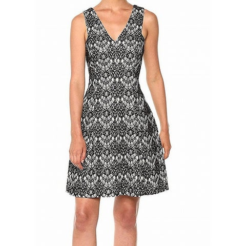 Kensie Black Beige Womens Size 8 V-Neck Floral-Lace Sheath Dress